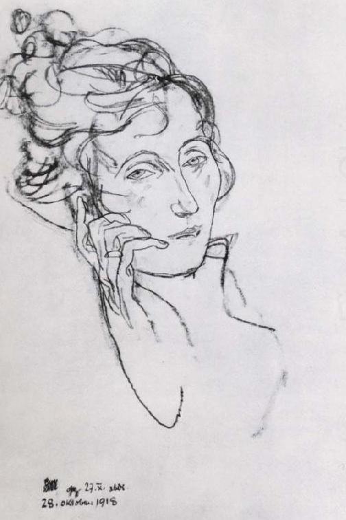 Schiele, Edith on deathbed